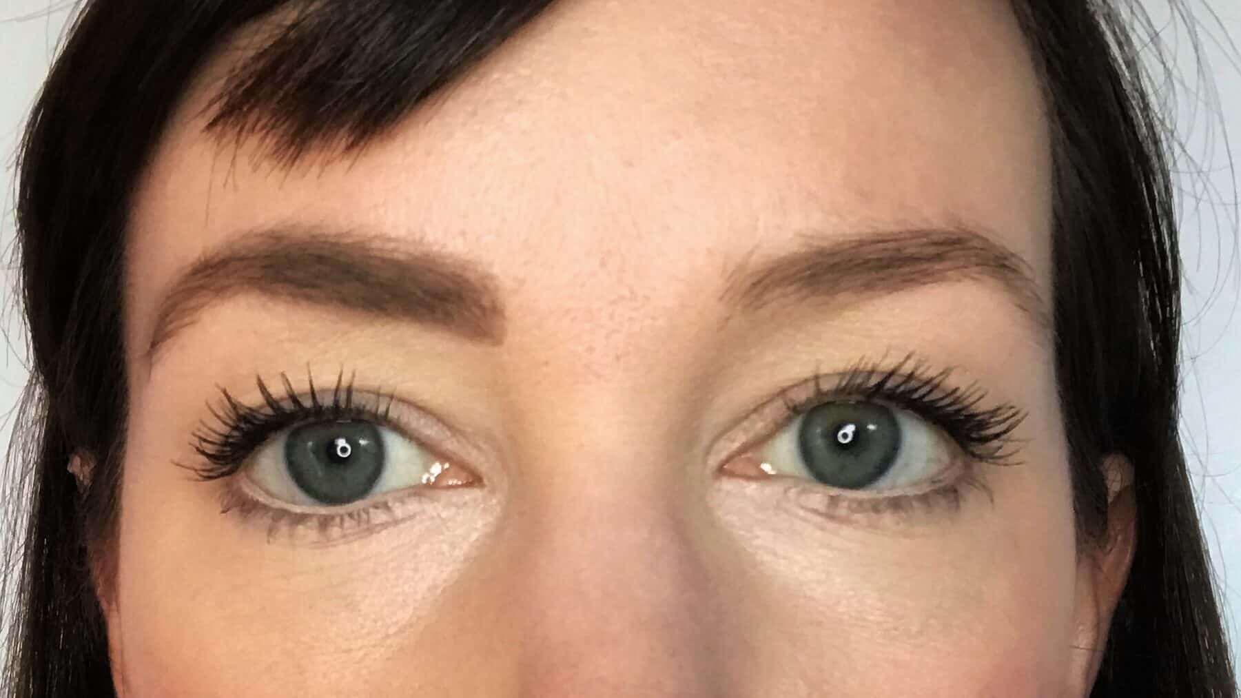 One eyebrow with natural eyebrow pencil and eyebrow gel to make them look fuller