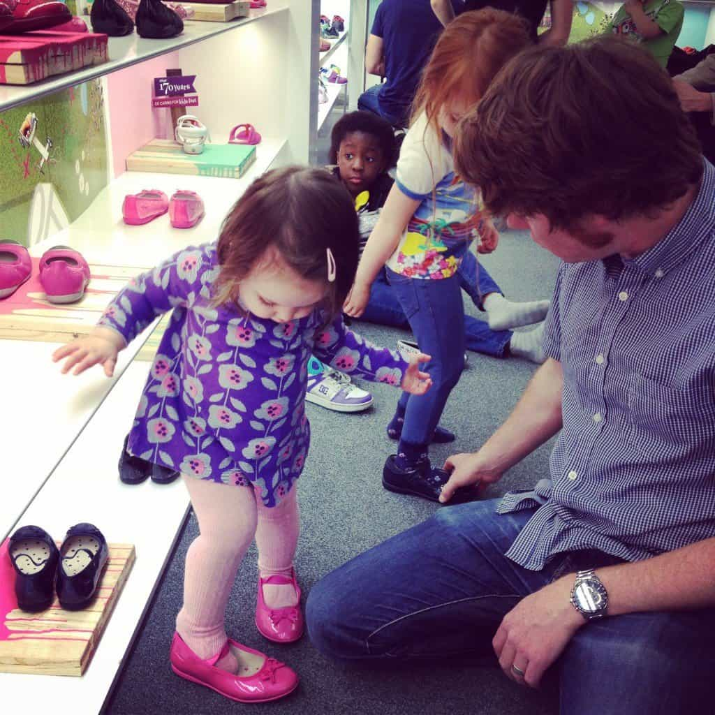 Thea and Ava shoe shopping