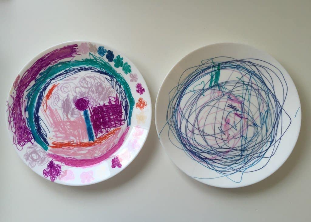 Sharpie decorated plates make great Father's Day gifts