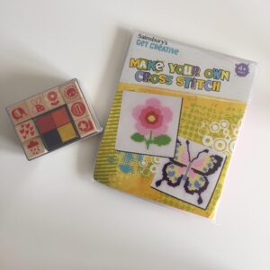 Sainsbury's kids' cross stitch kit and rubber stamps