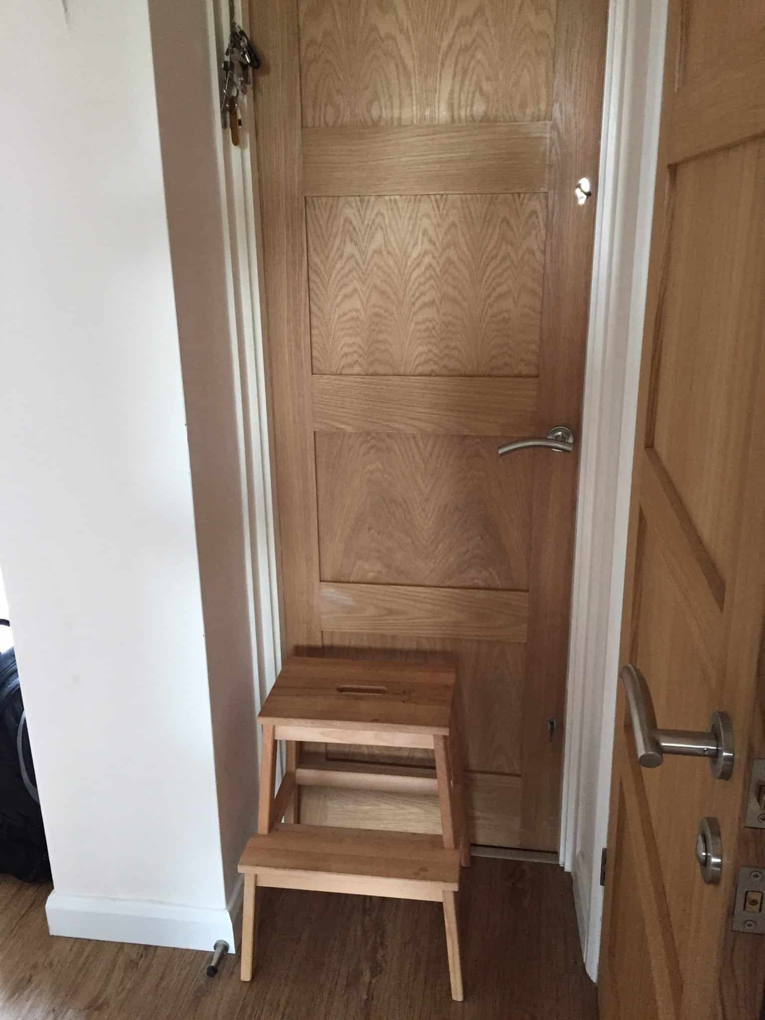 Utility room door with step stool