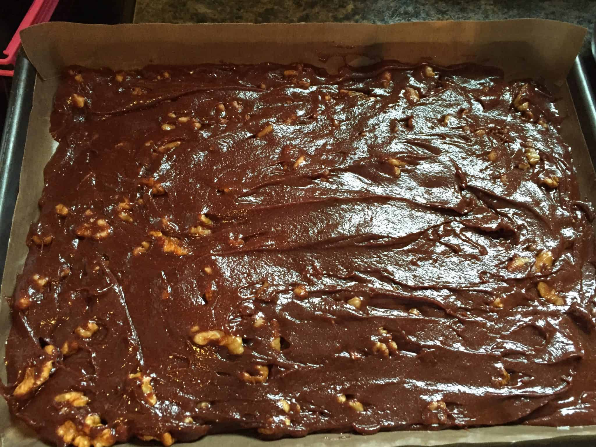 Raw brownie mix ready for the oven