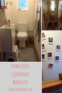 A downstairs cloakroom makeover with grey Laura Ashley tiles, and a simple white gloss vanity unit.