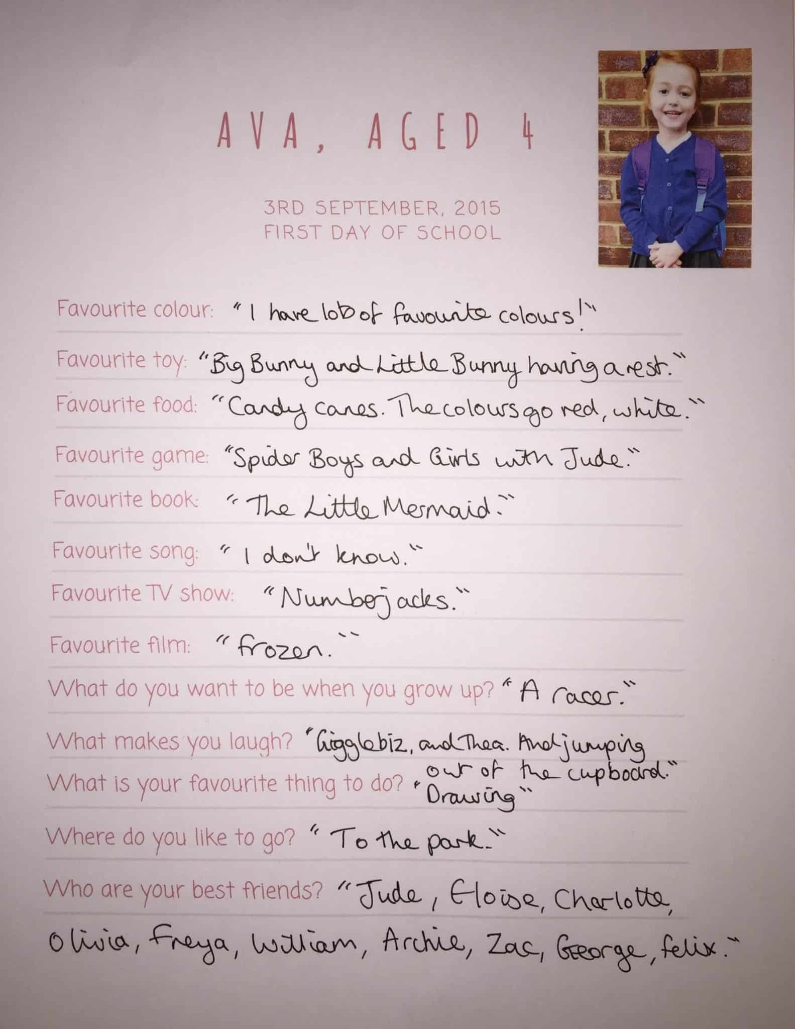 Ava's first day at school questionnaire