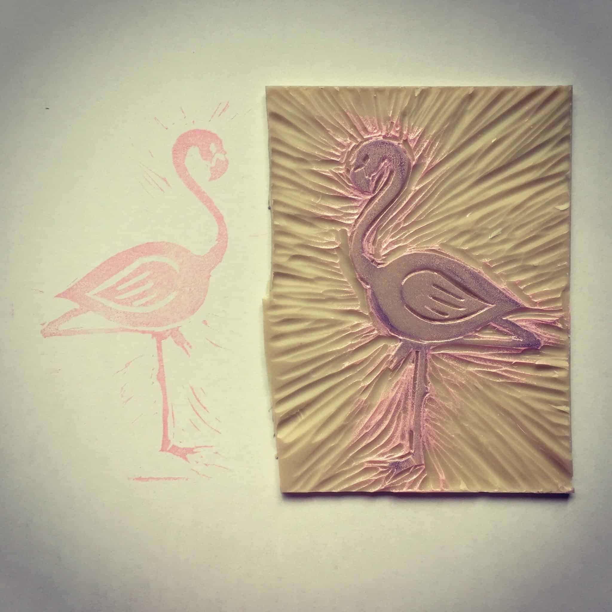 Flamingo lino print by Becky Pink