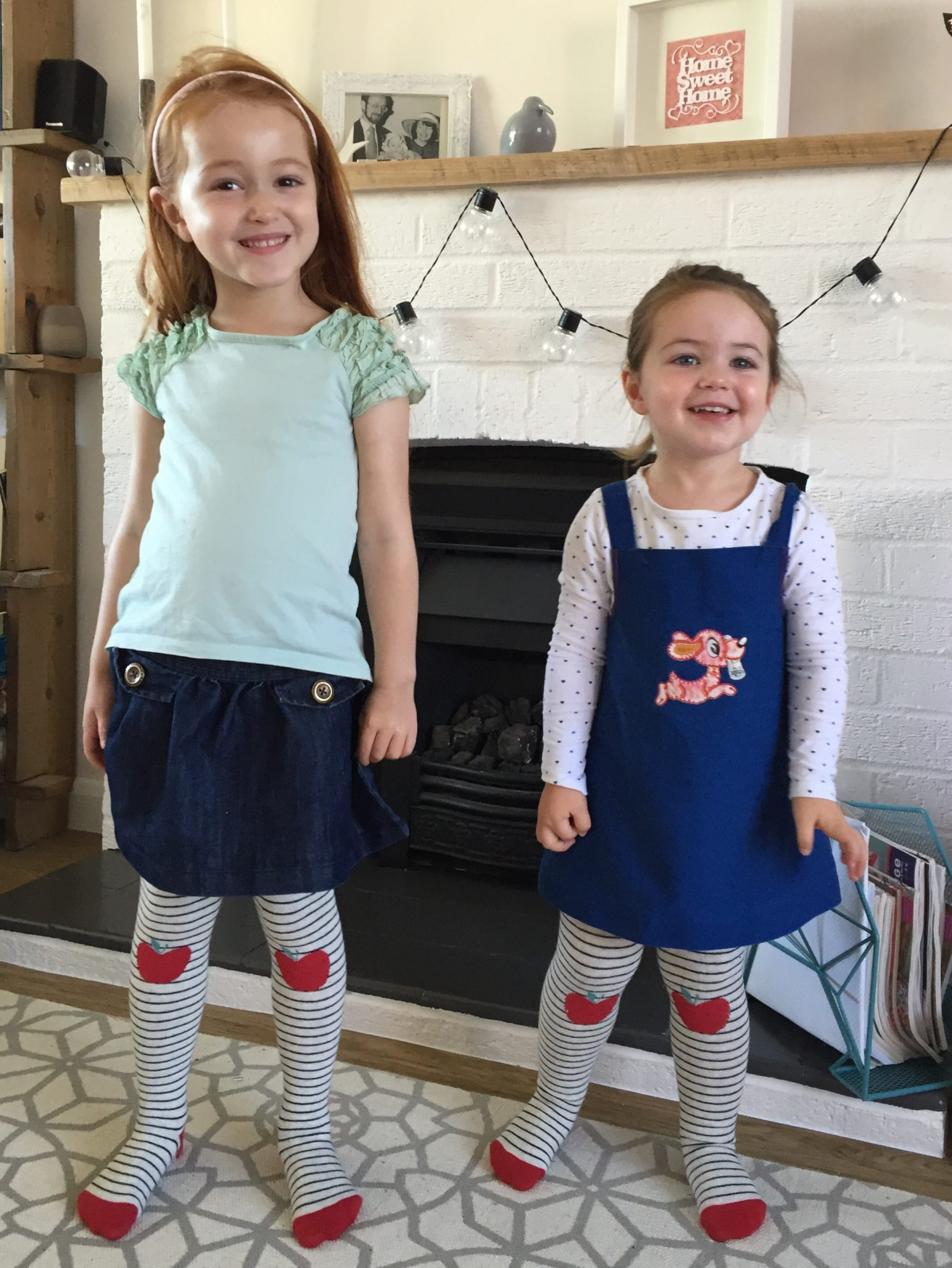 Ava and Thea in GAP apple tights