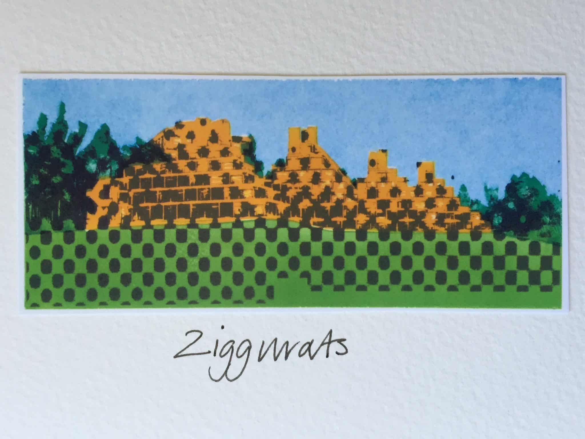 Ziggurats print by Claire Johnson