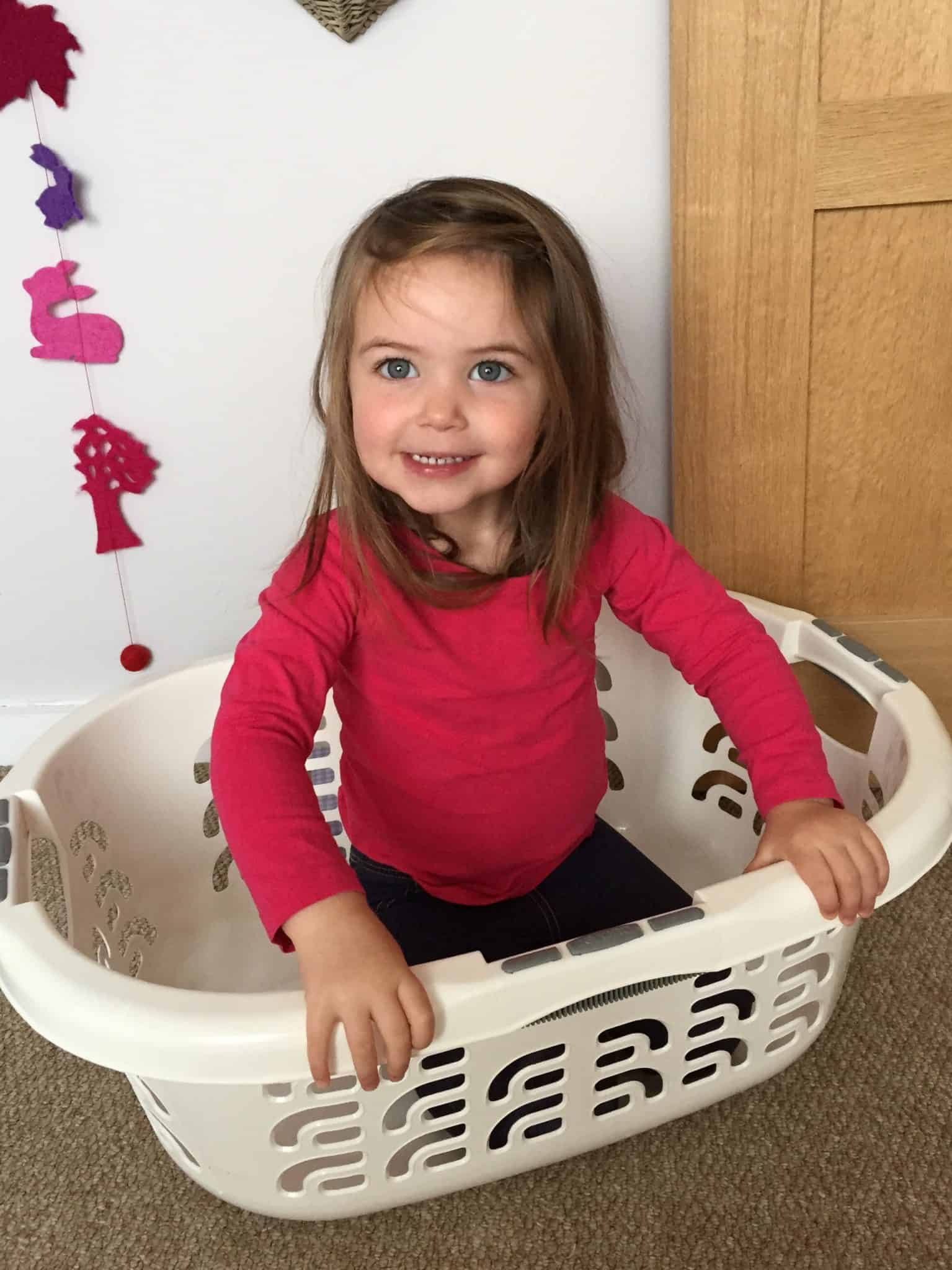 Thea in a washing basket