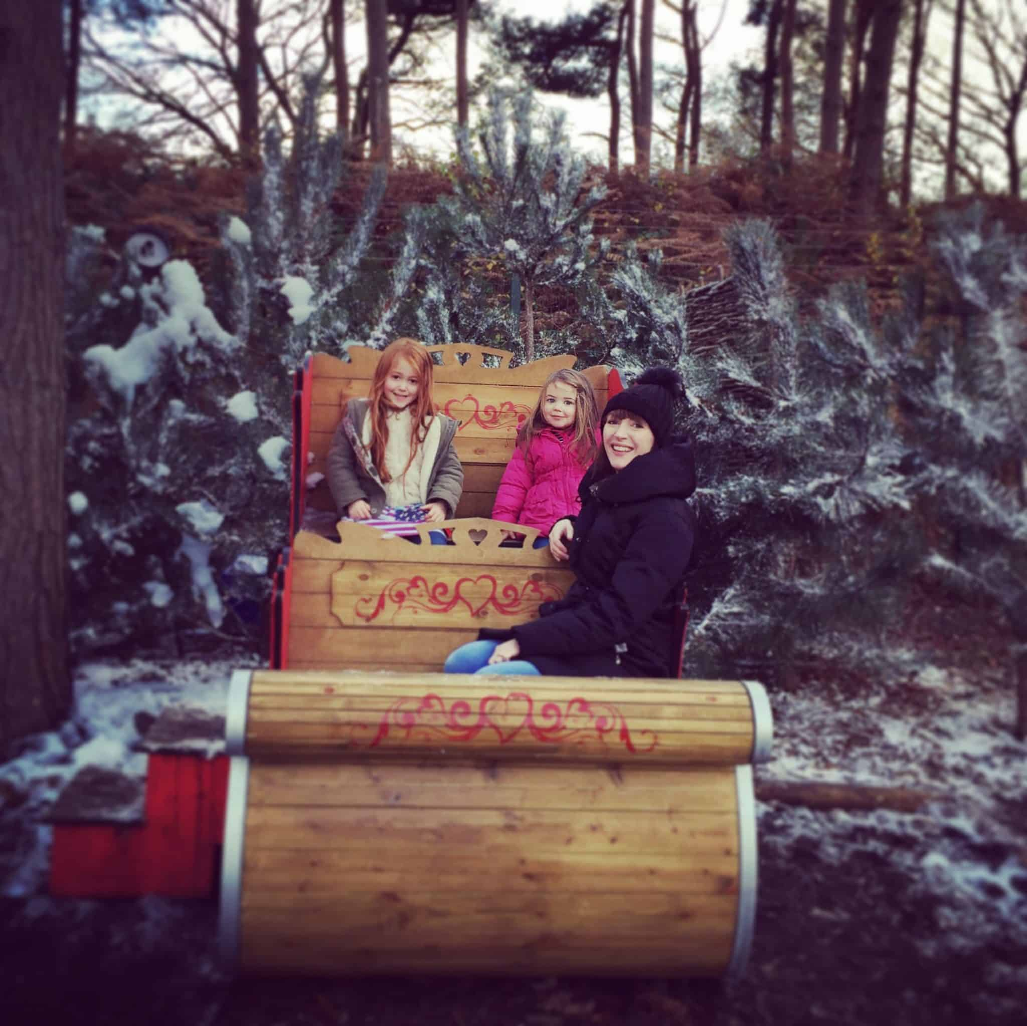 Ava, Thea and Becky Pink in a sleigh.JPG