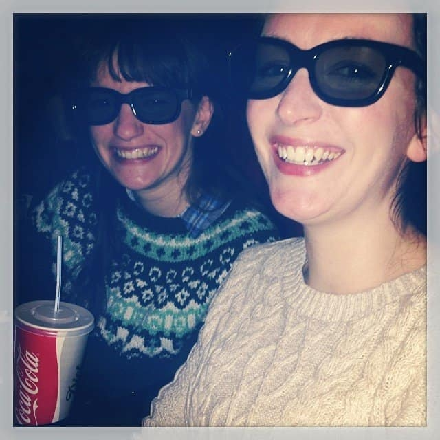 Debbie and Becky watching Dr Who 3D at the cinema