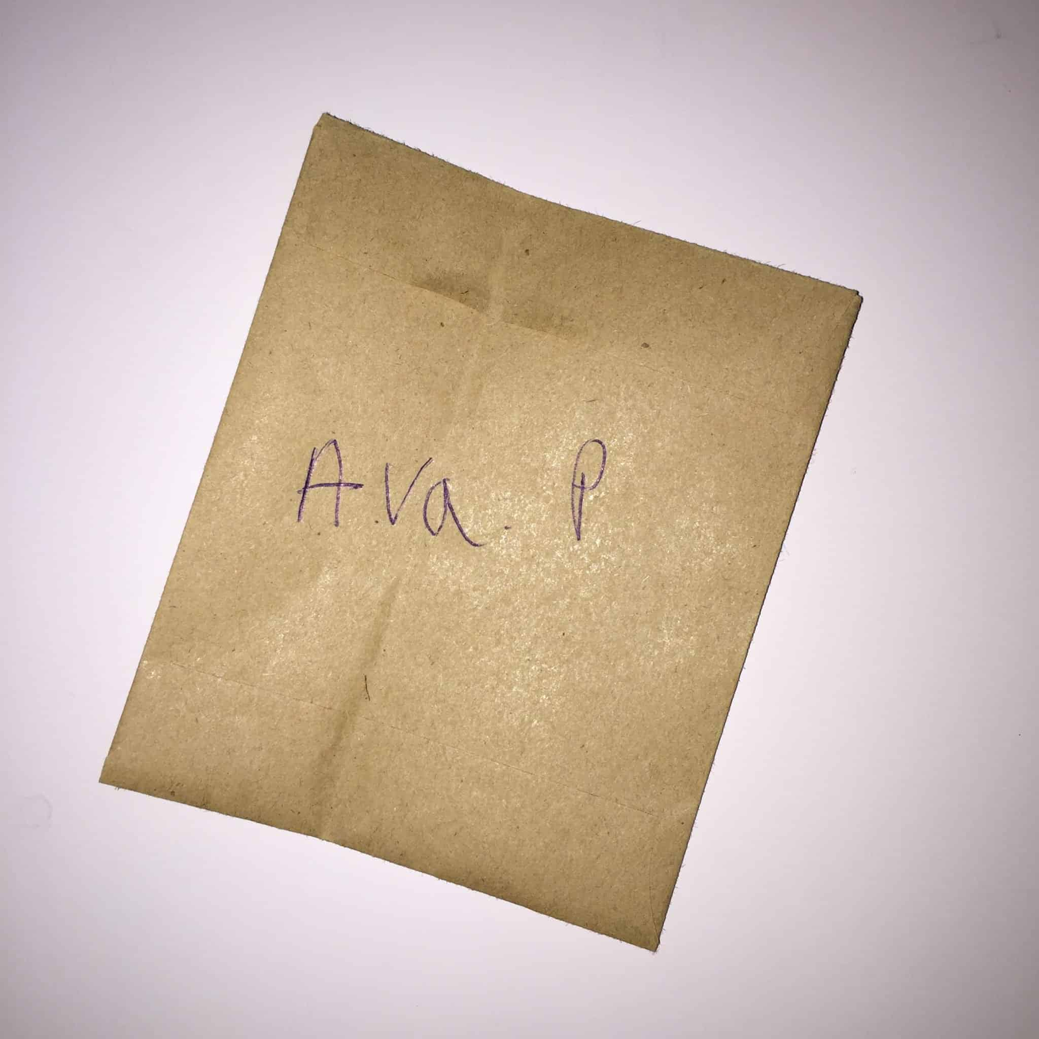 Envelope containing Ava's hair