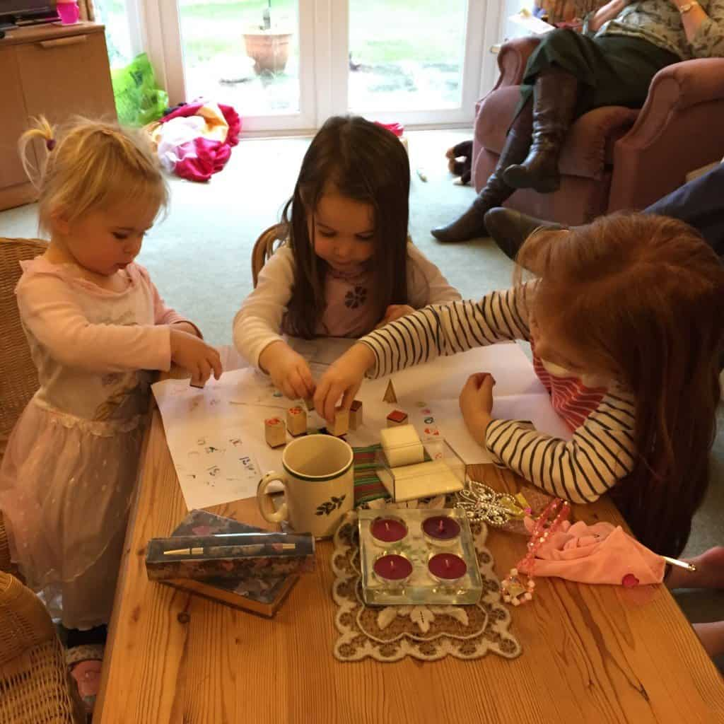 Bonnie, Thea and Ava stamping