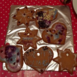 Our finished gingerbread biscuits!