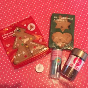 IKEA Gingerbread tree and biscuits, and decorations.