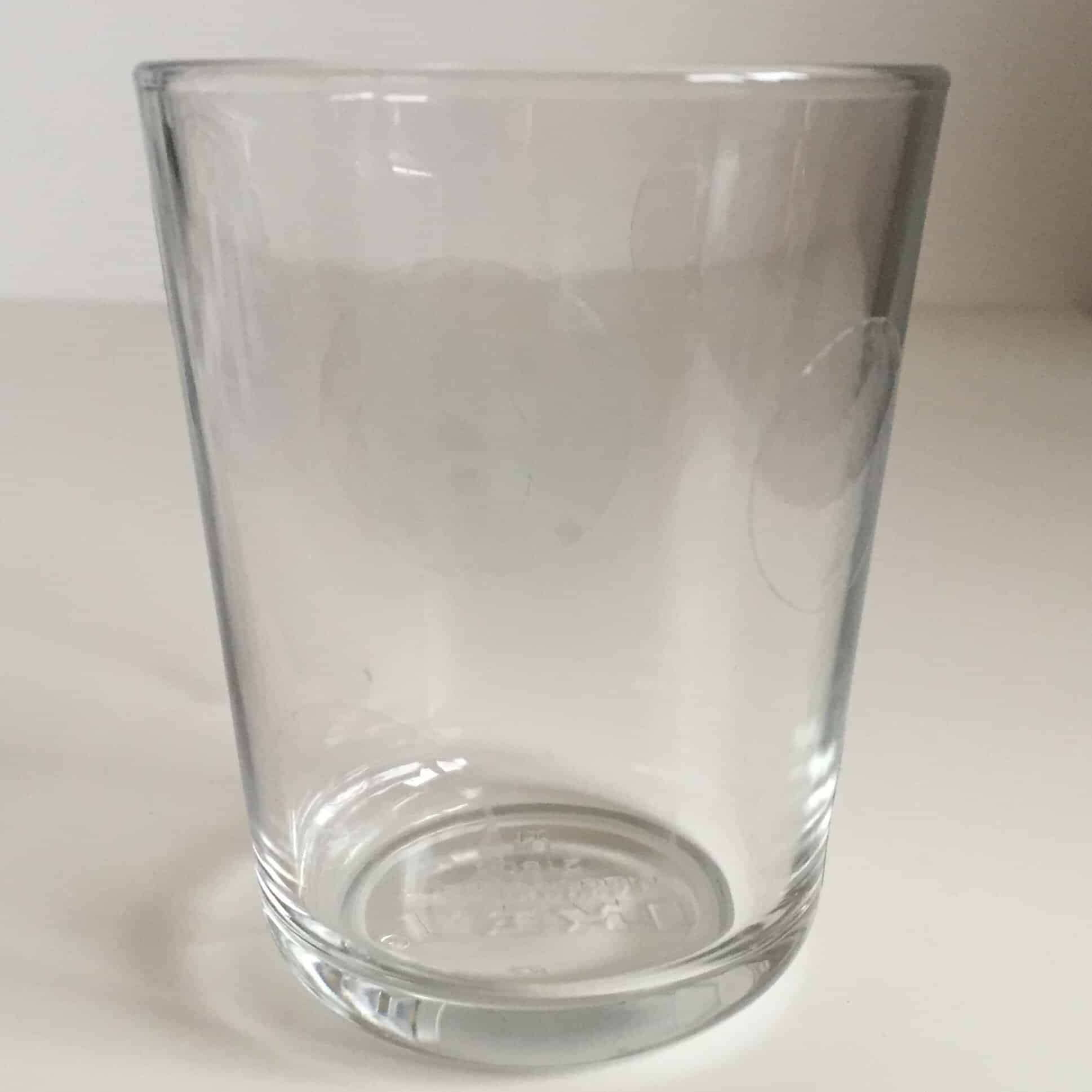 Glass with clear sticky dots
