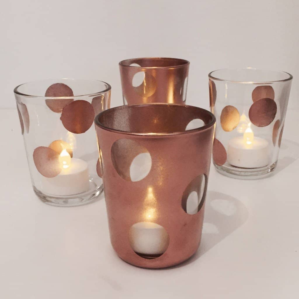 copper polkadot tea light holders