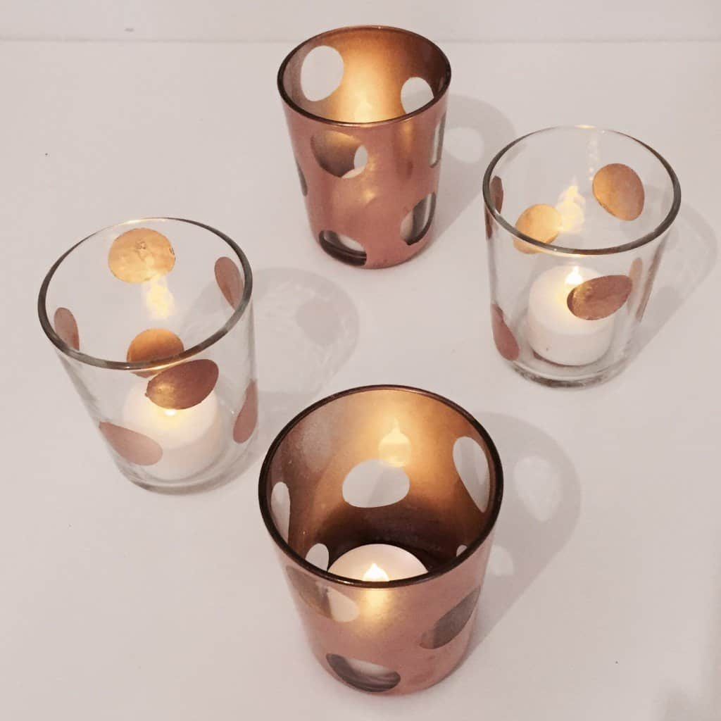 DIY IKEA hack copper dot tea light holders
