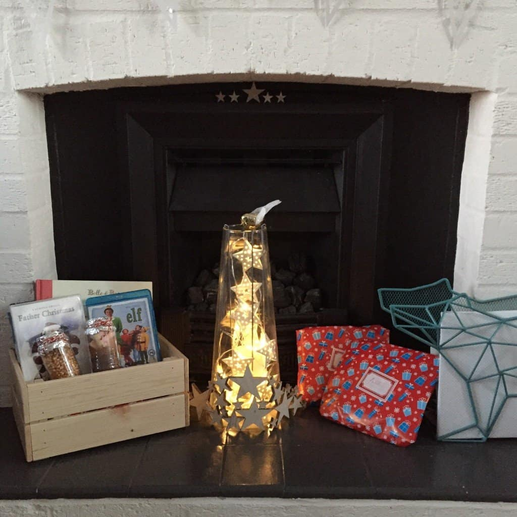 Fireplace with Christmas Eve box