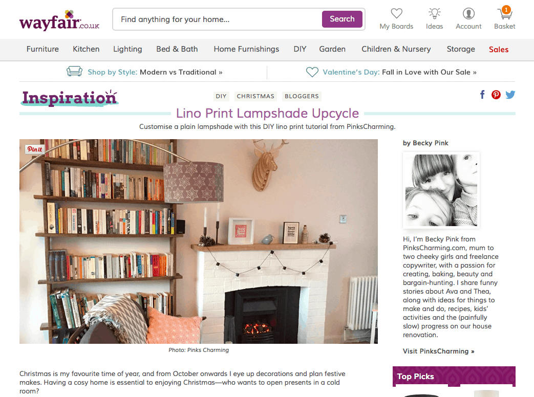 PinksCharming's Guest Post on Wayfair.co.uk