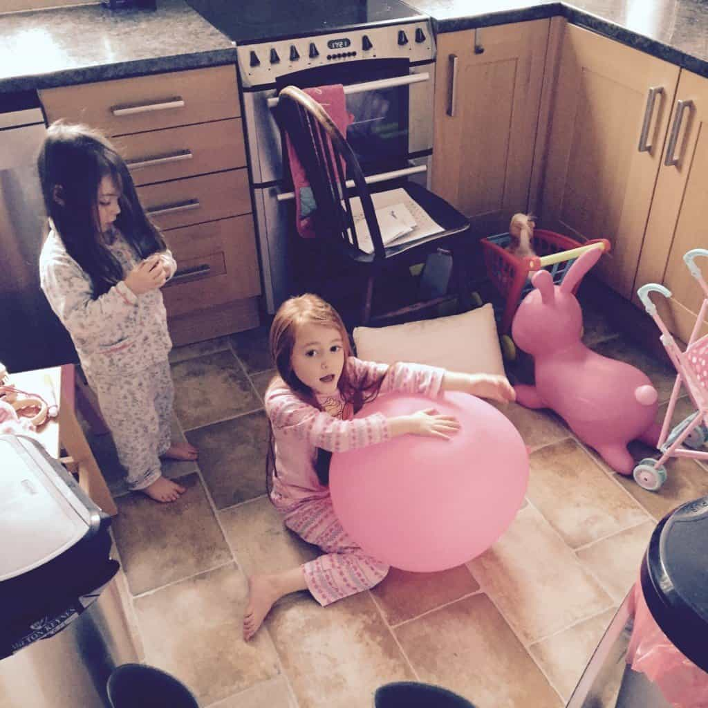Thea and Ava's 'house' in the kitchen