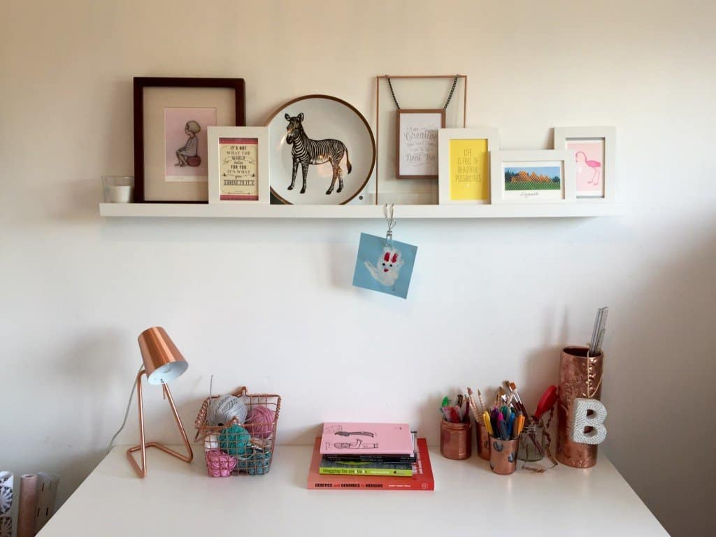 Craft and reading desk with picture ledge and copper accessories