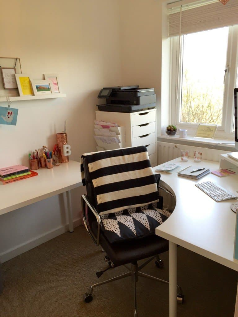 Small home offce with two IKEA desks, and ALEX office drawers