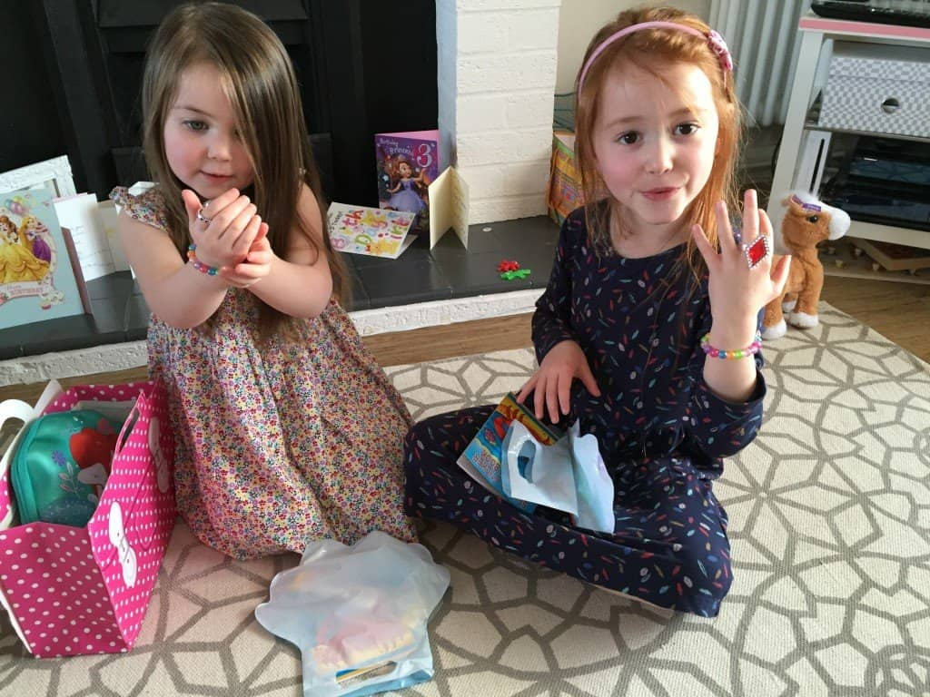 Ava and Thea enjoying their party bags from Party Bags & Supplies