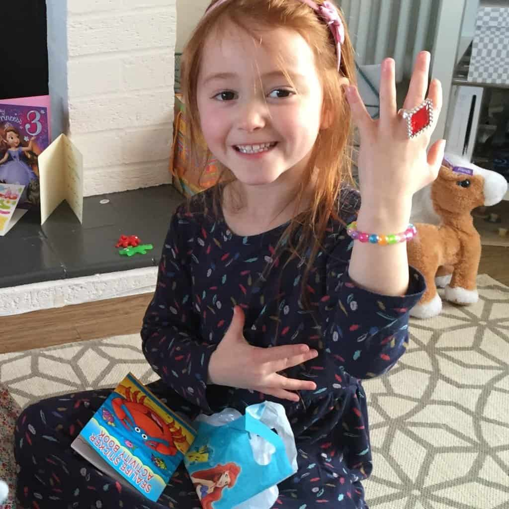 Ava enjoying her goodies from Party Bags & Supplies
