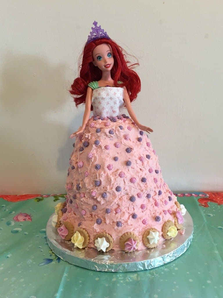 Finished Ariel Little Mermaid Cake doll cake