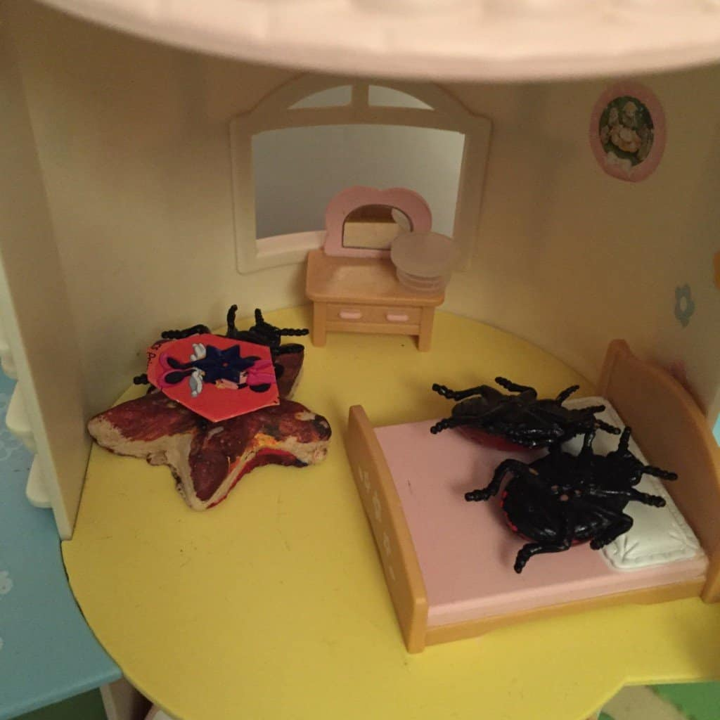 Ladybirds in a Sylvanian Families house