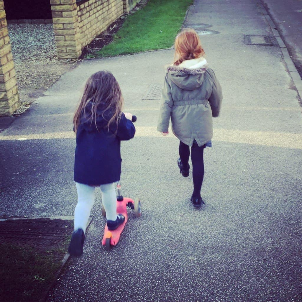 Thea and Ava scooting