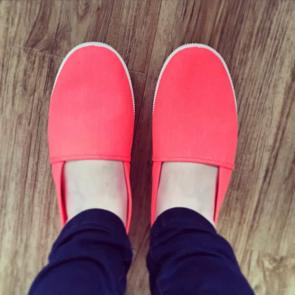 Neon coral H and M shoes