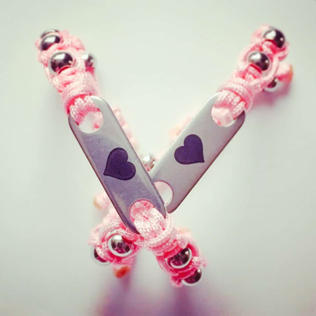 Two Pink Pixie MyBugle ID Bracelets with heart engraving