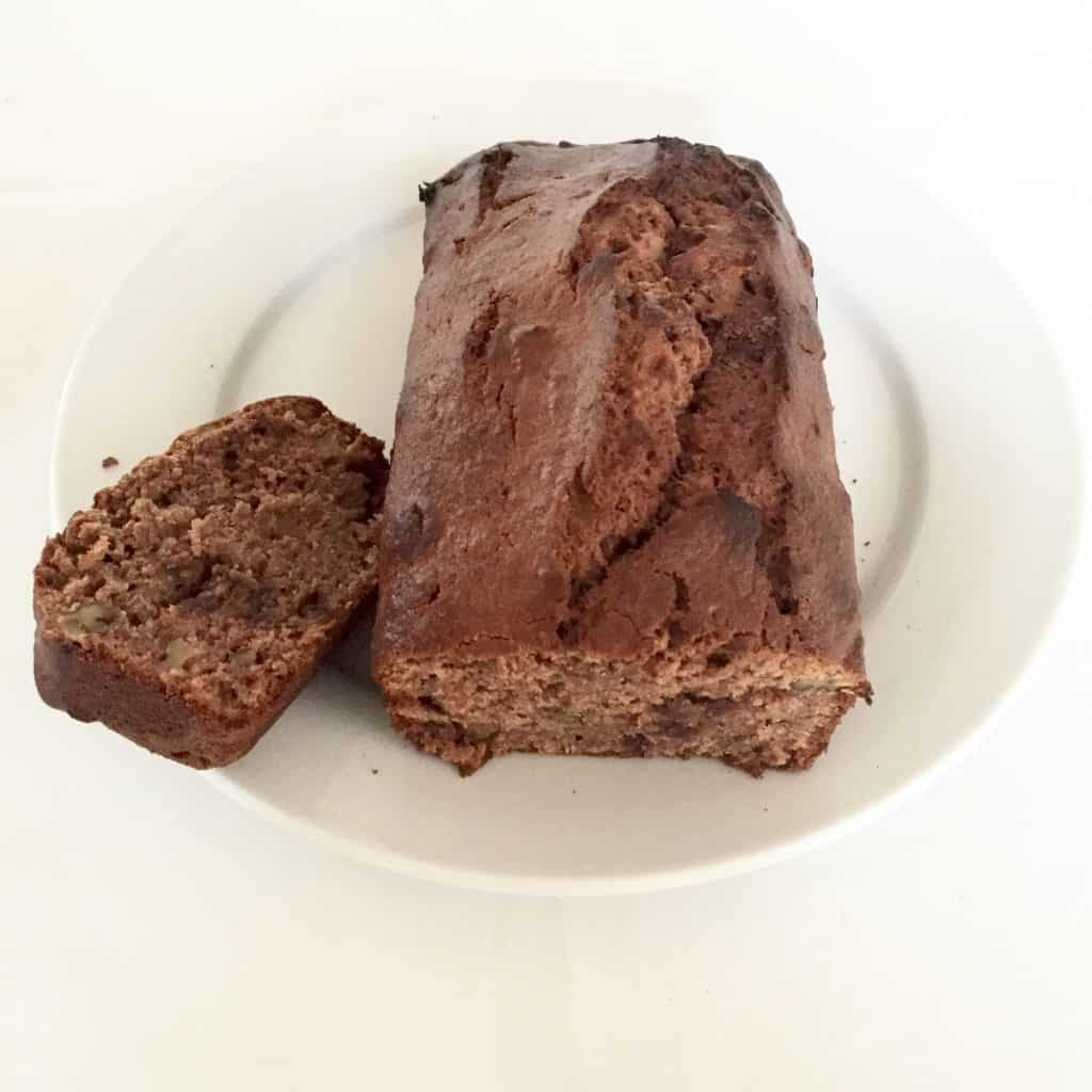 Chocolate and banana bread made from over ripe bananas