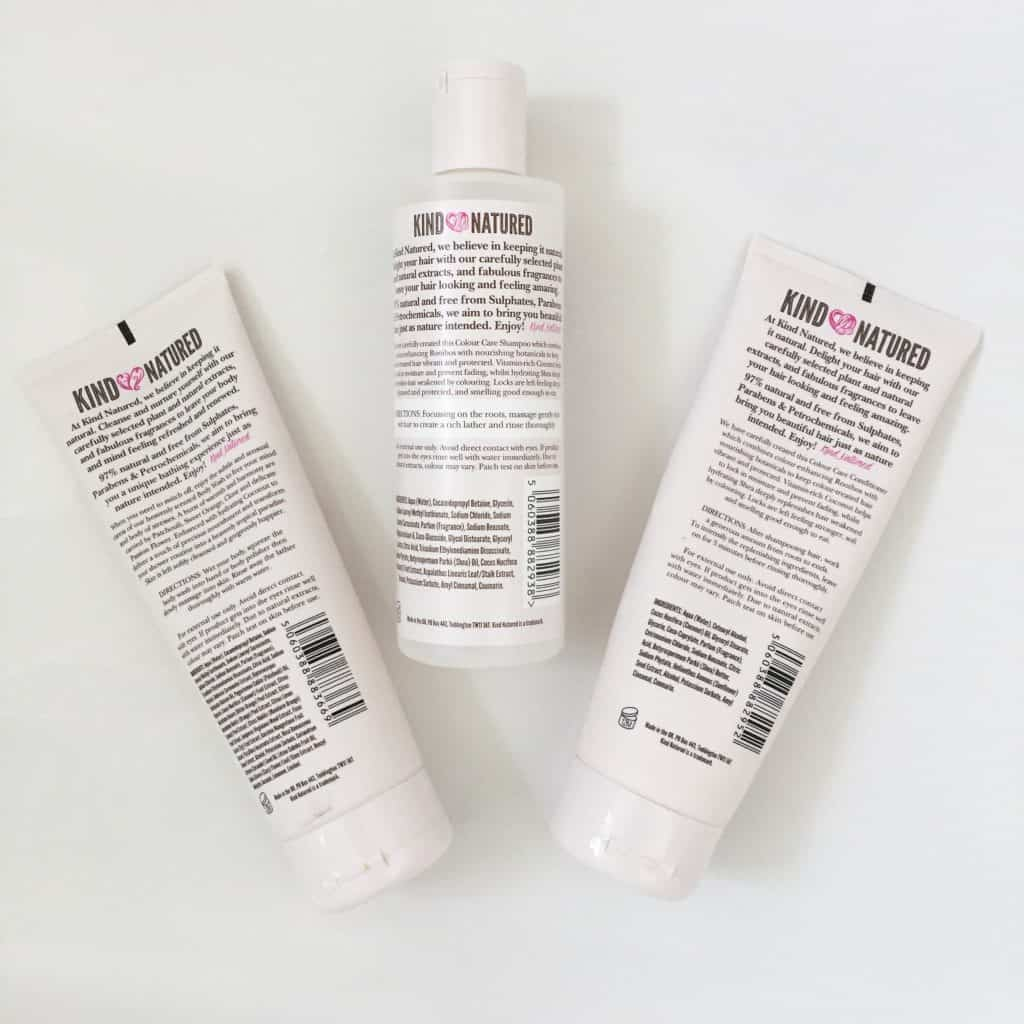 Kind Natured Body Wash, Shampoo and Conditioner backs