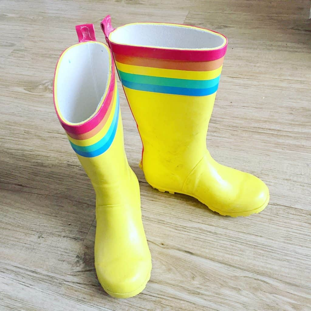 Little Bird Yellow Wellies with Rainbows