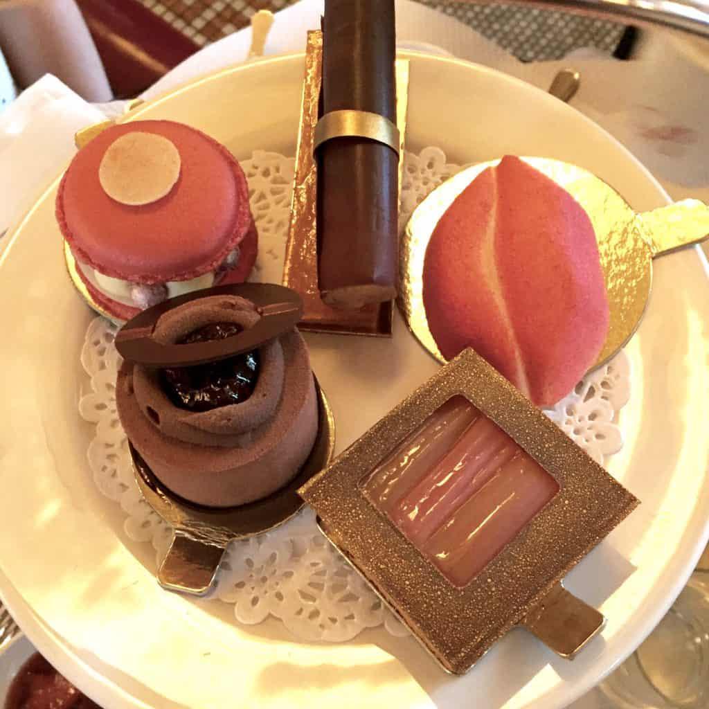 Make-up shaped cakes at the Bobbi Brown Afternoon Tea at Balthazar London