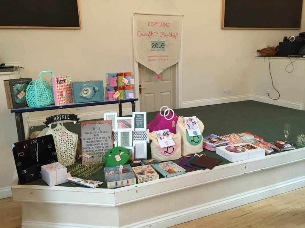 Raffle prizes at the Berylune Craft Party