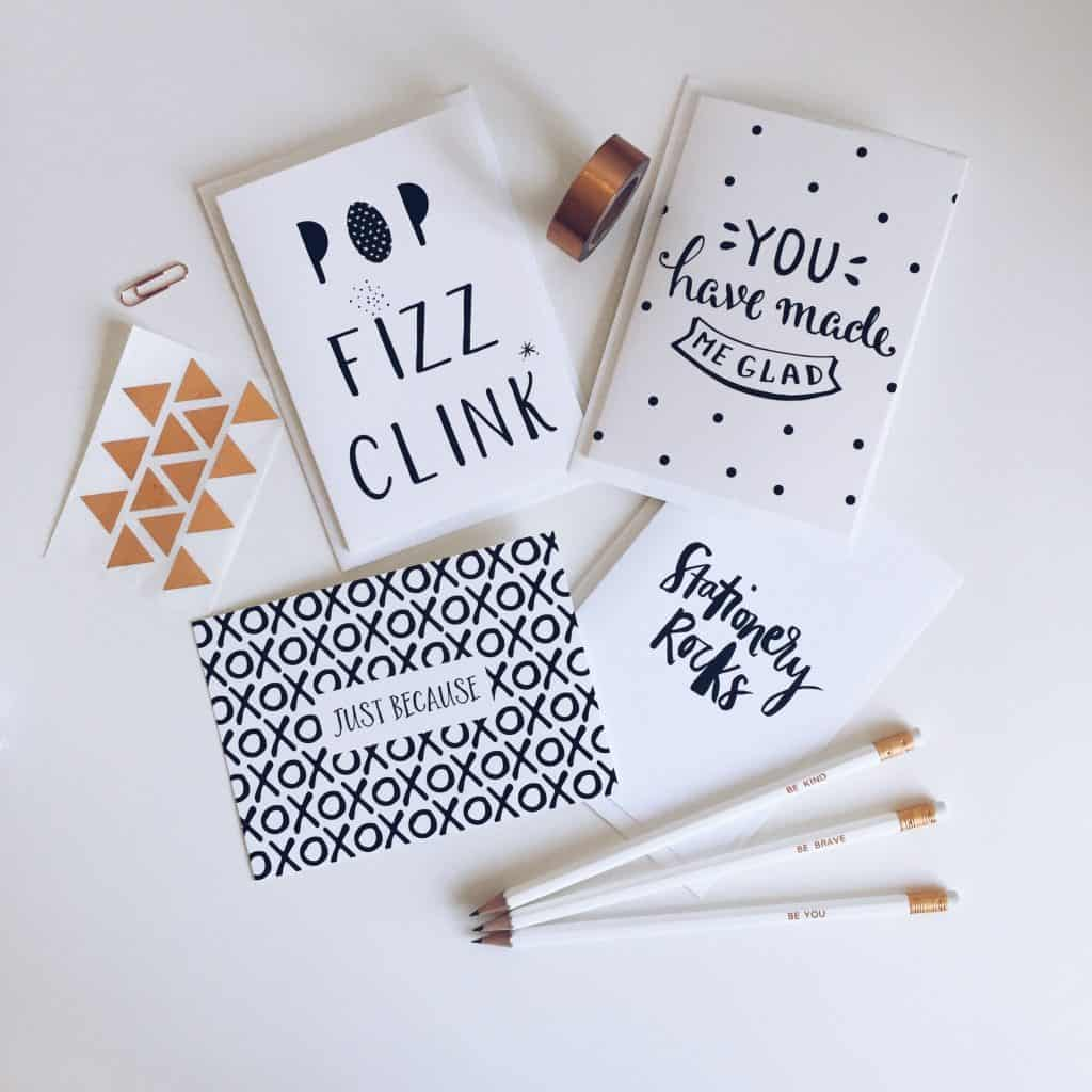 A selection of monochrome and copper stationery and cards that came in my Proper Post stationery subscription pack.