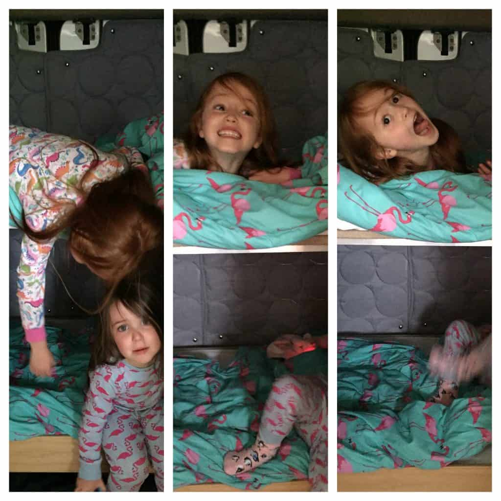 Ava and Thea in their bunk beds in the Gampavan