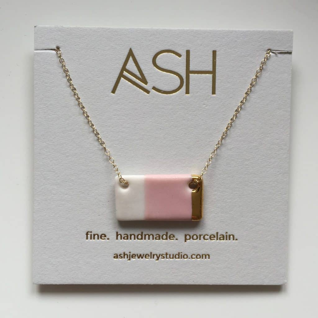 Gold Dipped Blush Bar Necklace by Ash Jewelry Studio from HOWKAPOW