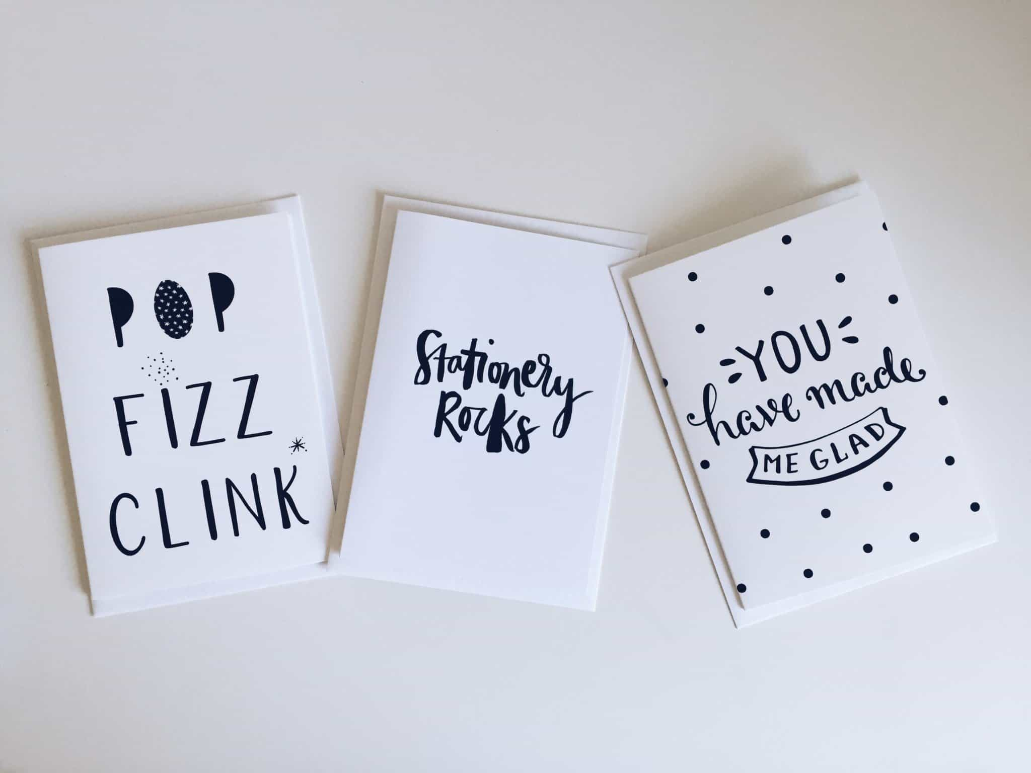 Three monochrome greetings cards from Proper Post