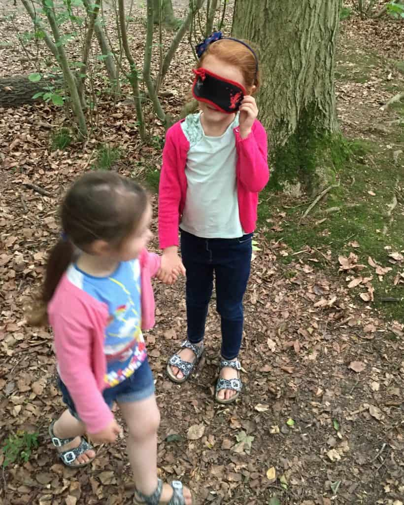 Thea leading Ava around Salcey Forest