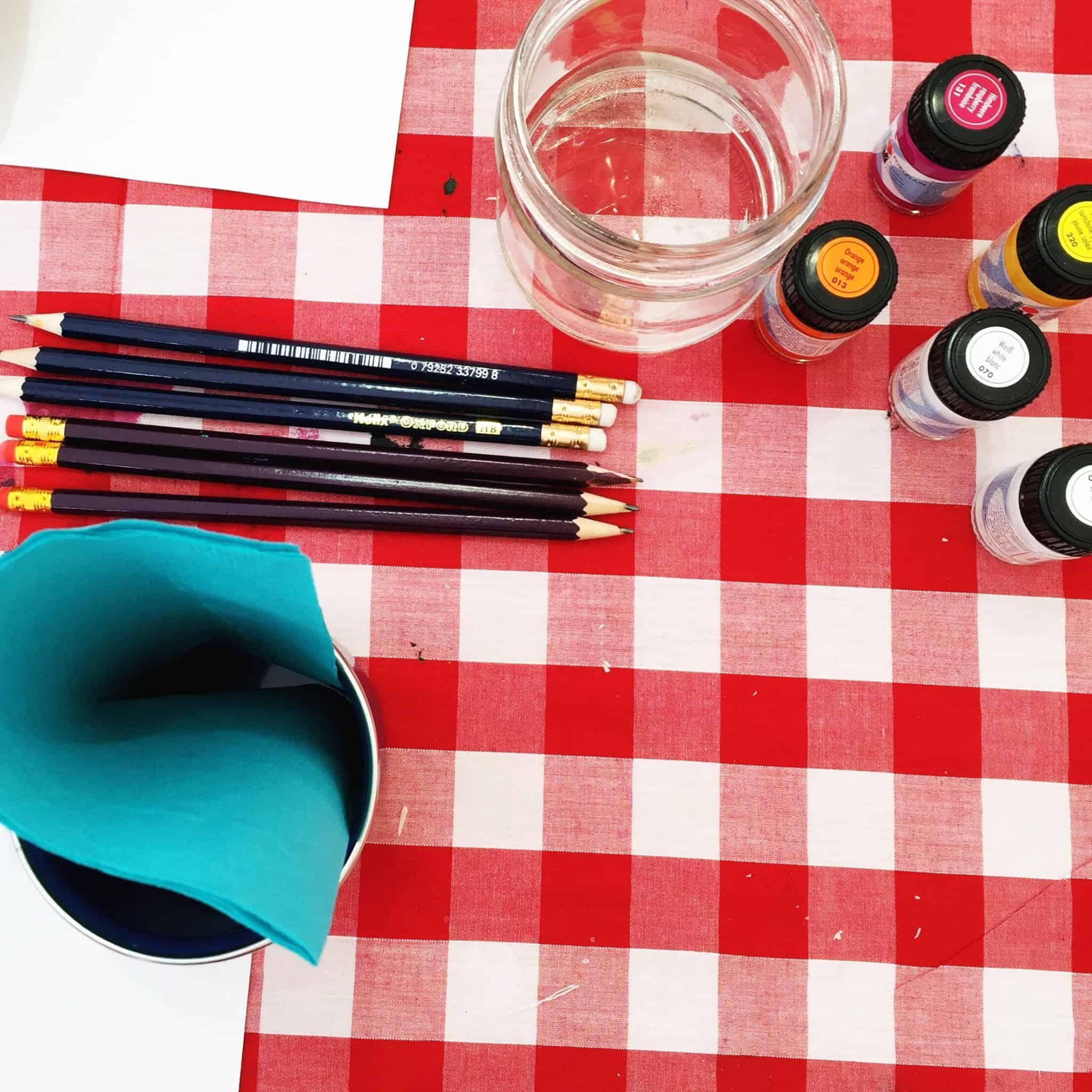 Materials for Enamel Mug Painting at The Handmade Fair 2016