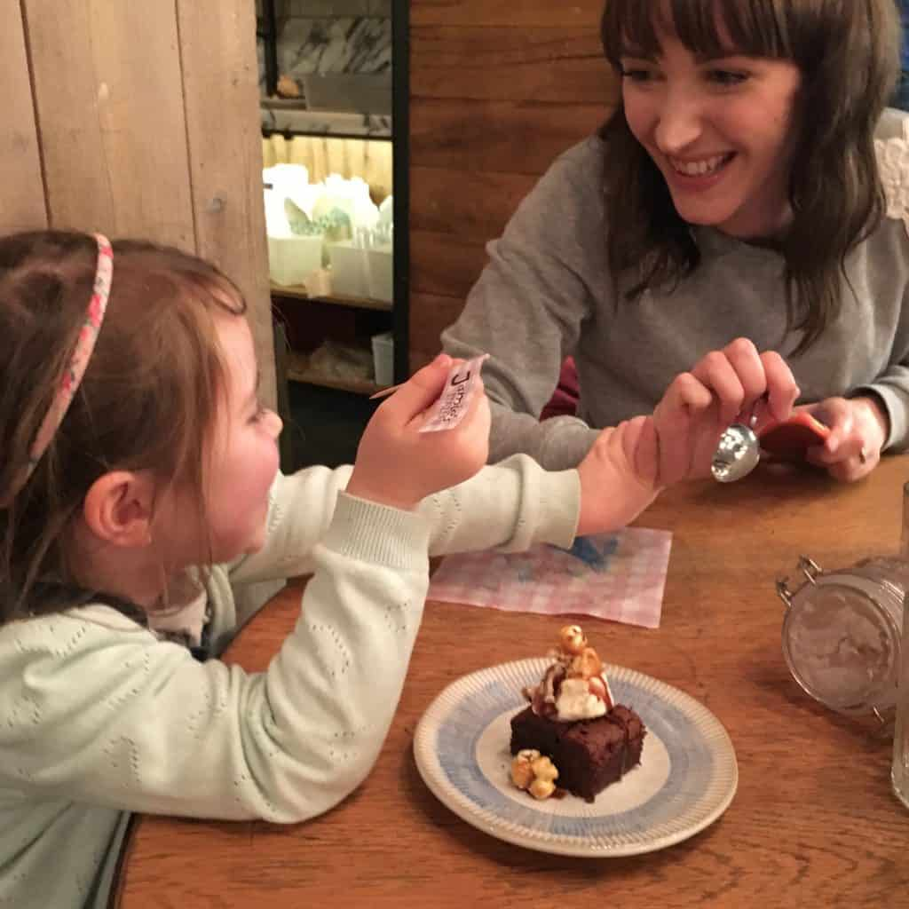 Fighting over a brownie at Jamie's Italian in Milton Keynes