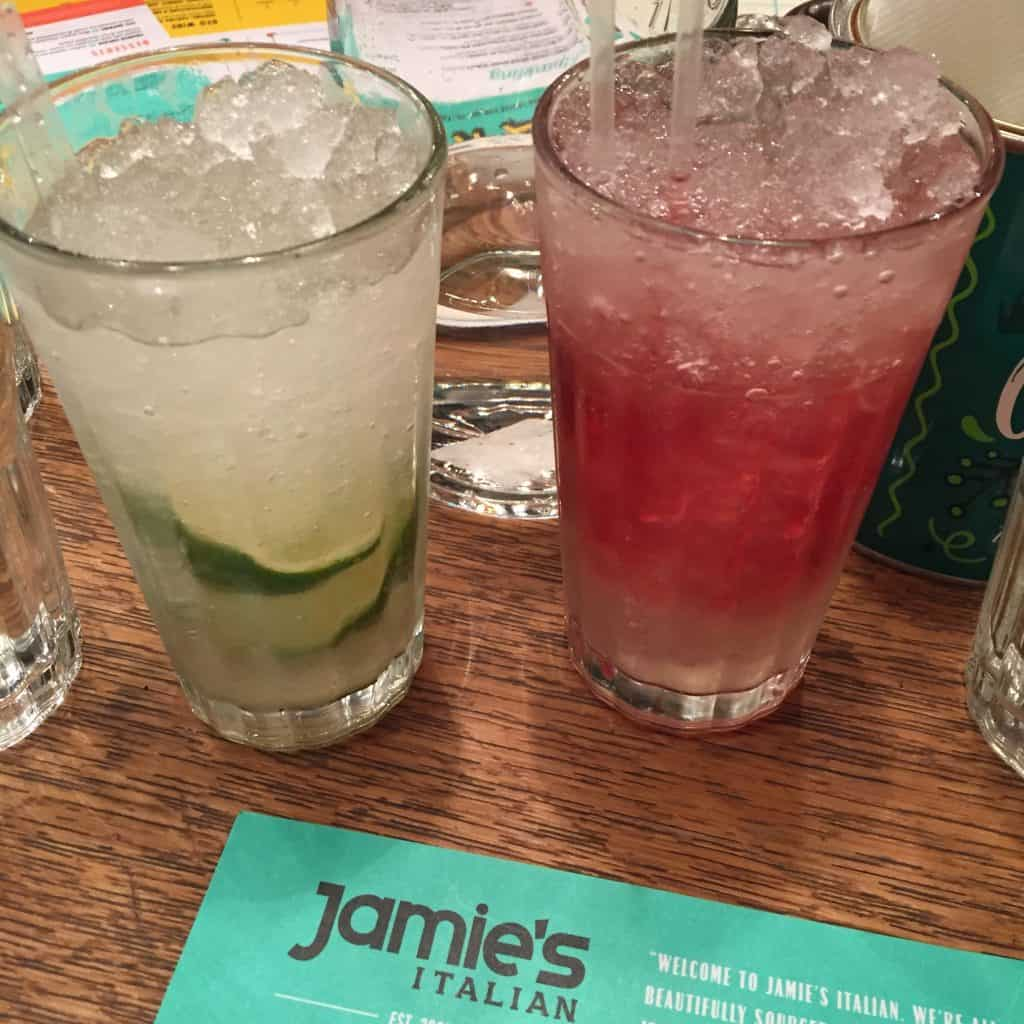 Yummy mocktails at Jamie's Italian Restaurant in Milton Keynes
