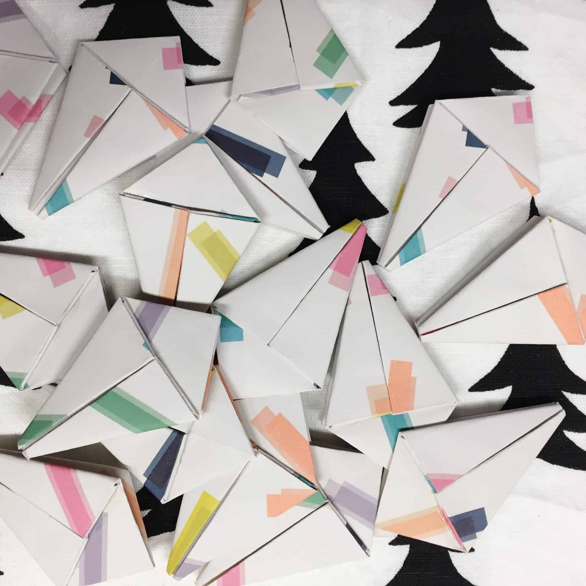 Origami shapes ready to inflate