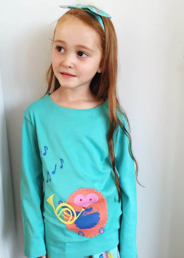 Piccalilly Organic Kids long sleeve Hedgehog Appliqué t-shirt