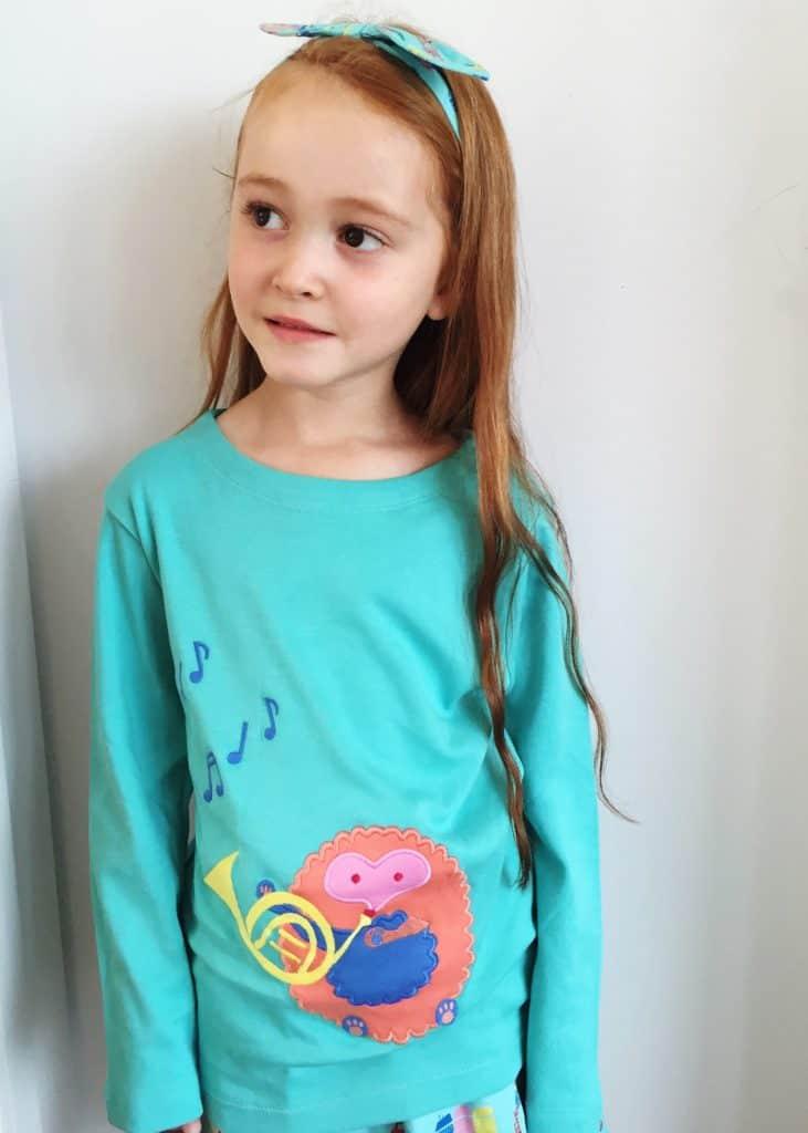 Piccalilly Organic Kids long sleeve Hedgehog Appliqué t-shirt