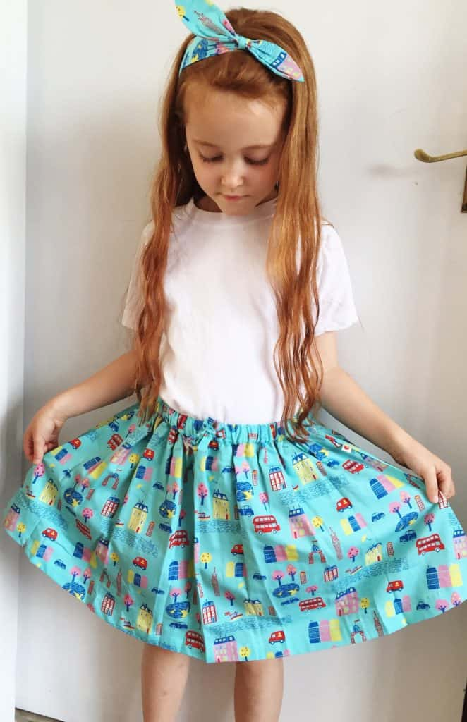 Piccalilly organic clothes London Print skirt and hair band